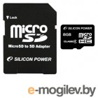 Silicon Power microSDHC 8Gb SP008GBSTH004V10-SP Class 4;  SD Adapter