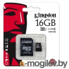 Kingston SDC10G2/16GB microSDHC Memory Card 16Gb UHS-I U1 Class10  + microSD-->SD  Adapter
