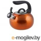 Чайник со свистком, нержавеющая сталь, 2.7 л, серия Focus, оранжевый металлик, PERFECTO LINEA (диаметр 20 см, высота 23,2 см, общий объем изделия 3,0л