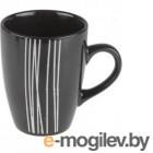 Кружка керамическая, 325 мл, черная с полоской, PERFECTO LINEA (30-096515)