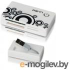 Denn DCR451W All in one, плоский, высокоскоростной USB 2.0, Plug&Play, бело-черный цвет, привлекательный дизайн, прочный корпус, встроенный