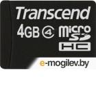 Карта памяти Transcend microSDHC (Class 4) 4GB + адаптер (TS4GUSDHC4)