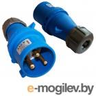 Вилка Lanmaster IEC 309, однофазная,32A,250V,разборная,синяя
