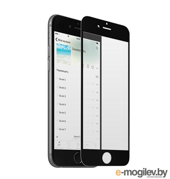 Закаленное стекло с дублирующими кнопками для iPhone 6 / 6S DF iButtonColor-01 Black