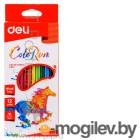 Карандаши цветные Deli EC00100 трехгранные пластик 12цв. коробка/европод.