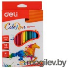 Карандаши цветные Deli EC00110 трехгранные пластик 18цв. коробка/европод.