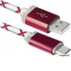 Кабель USB 2.0 (AM) -> Micro USB (BM), 1.0m, Defender USB08-03LT красный, подсветка разъемов (87556)