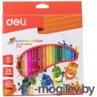 Карандаши цветные Deli Color Emotion EC00220 трехгранные липа 24цв. коробка/европод.