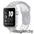 APPLE Watch Nike 38mm Silver Aluminium Case with Flat Silver-White Nike Sport Band MNNQ2RU/A
