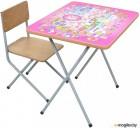 Комплект детской мебели ФЕЯ Досуг 201 Алфавит розовый. Размеры (ДхШхВ) стульчик – 27,6 х 25 х 50 см, столик - 45 х 60 х 46