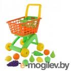 Детская тележка Полесье №7 с набором продуктов / 61911 (оранжевый/салатовый)