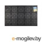 Коврик придверный 58х36,5 см, черный, с геометрическим узором, TM YPgroup (Размер 58х36,5 см. Материал: вулканизированная непористая резина.)