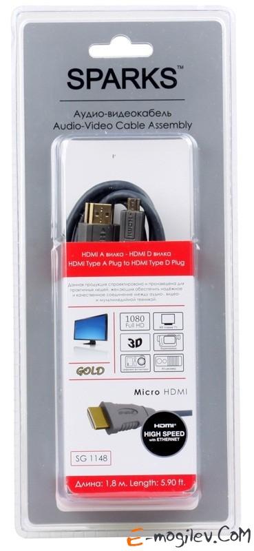 Belsis HDMI вилка - microHDMI (type D) вилка с ф/фильтрами, длина 1.8 м, серия Sparks SG1148
