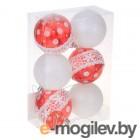 Елочные игрушки и украшения СИМА-ЛЕНД Набор шаров Гранд 6шт Red / White 2131393