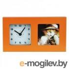 Часы-фоторамка маленькие Вега 6409 оранжевые 19.7x3.8х11.1 см