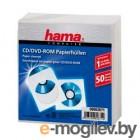 Конверты Hama H-62671 для CD/DVD бумажные с прозрачным окошком 50 шт. белый