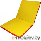 Гимнастический мат No Brand Складной 2x1x0.1м (красный/желтый)