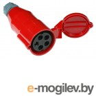 Вилка Lanmaster LAN-IEC-309-32A3P/F трехфазная мама 32A 380V разборная красная