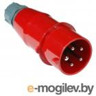 Вилка Lanmaster LAN-IEC-309-32A3P/M трехфазная папа 32A 380V разборная красная