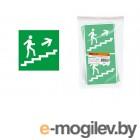 Знак Направление к эвакуационному выходу (по лестнице направо вверх) 150х150мм TDM
