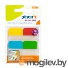 Набор самоклеящихся закладок с цветным краем из пластика 38*25мм, 4цв*20л, STICK