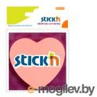 Самоклеящийся неоновый блок Сердце 70*70,  50л, розовый, STICK