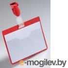 Бейдж горизонтальный, 25шт/уп 90х60мм, красный, с карманом, с клипом-зажимом  DURABLE, Германия