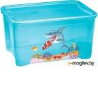 Ящик для игрушек Пластишка с аппликацией 4313776 голубой