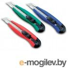 Нож канцелярский мощный с шириной лезвия 18мм с 2-мя запасными лезвиями, черный,KW-trio