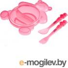 Набор детской посуды Canpol Мишка 2/422 розовый