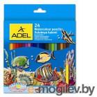 Карандаши цветные Adel Aquacolor 216-2660-000 акварельные 3мм 24 цв. кисточка карт. коробка/европод