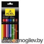 Карандаши цветные Adel BlacklinePB 211-2312-000 черное дерево 3мм 12 цветов корпус цветной коробка