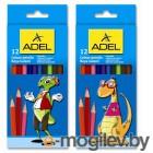 Карандаши цветные Adel Colour 211-2315-007 3мм 12 цветов 2 дизайна упаковки карт. коробка/европодвес