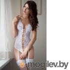 Боди с подвязками для чулок SoftLine Collection Tina белое-S/M