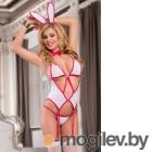 Костюм зайки Candy Girl (корсет, стринги, чулки, галстук-бабочка, ушки) бело-розовый-OS