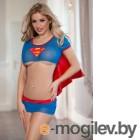 Костюм супервуман Candy Girl (топ, юбка и стринги) сине-красный-OS