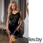 Платье Candy Girl с открытой спиной, wetlook, черное-OS