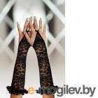 Перчатки кружевные, до локтя, черные-S/L