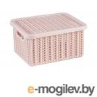 Ящик для хранения с крышкой ВЯЗАНИЕ 85х148х170мм (чайная роза) (IDEA)