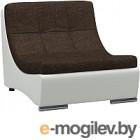 Кресло модульное Woodcraft Монреаль коричневая рогожка/белый кожзам