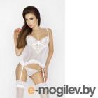 Корсет с пажами для чулок и стринги Passion Erotic Line Janet, белый, L/XL