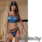 Костюм полицейской Candy Girl (топ, стринги, головной убор, 2 значка) чёрно-синий-OS