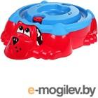 Песочница-бассейн PalPlay Собачка 432 с крышкой (красный/голубой)