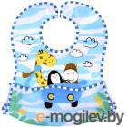 Нагрудник детский BabyOno Слюнявчик-кенгурёнок с расстёгиваемым карманом, 3м+ 836 голубой