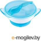 Набор детской посуды BabyOno Миска с присоской и ложкой 6м+ / 1063 (синий)