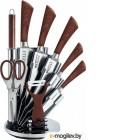 KELLI KL-2127 метал Набор кухонных ножей на подставке Высококачественная сталь 9 предметов: Топорик кухонный 16см, Нож поварской 20см, Нож хлебный 20см, Нож для резки 12см, Нож овощной 9см, Точилка, Ножницы Овощечистка с керамическим лезвиемОстрая режуща