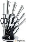 KELLI KL-2120 метал Набор кухонных ножей на подставке Высококачественная сталь 9 предметов: Топорик кухонный 16см, Нож поварской 20см, Нож хлебный 20см, Нож для резки 12см, Нож овощной 9см, Точилка, Ножницы Овощечистка с керамическим лезвием. Острая режу