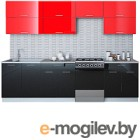 Готовая кухня Интерлиния Мила Gloss 60-28 (красный/черный)