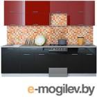 Готовая кухня Интерлиния Мила Gloss 50-26 (бордовый/черный)