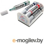 Набор маркеров для доски Pentel Maxiflo MWL5M-4N со стирателем (4шт, ассорти)